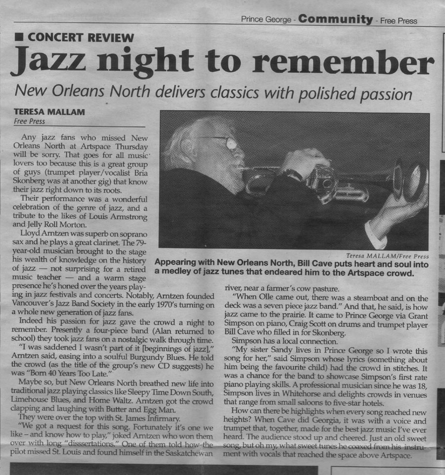 New Orleans North Traditional Jazz Band, Alan Matheson, Grant